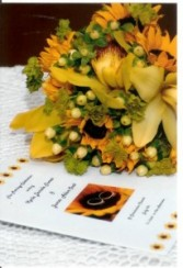 Sunflowers and Cymbidium Orchids Hand Tied Bouquet