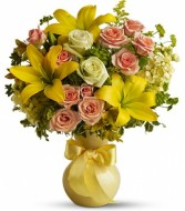 Sunny Smiles Flower Arrangement (T42-1A) in Fairbanks, AK | A BLOOMING ROSE FLORAL & GIFT