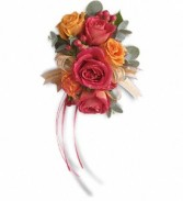 Sunset Beauty Wristlet T201-2a  orange and pink roses