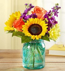 Sunny Summer Sunshine Bouquet  Sunflowers, and More in Keepsake Candle Jar