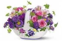 Sweet Pansy Basket Bouquet