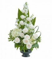 Sympathy Roses and Hydrangea Vase Arrangement