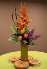 TA-10 Tropical flowers in a modern arrangement Flowers and colors may vary
