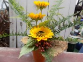 Tall and Stately Sunflowers Silk One Sided arrangement with Sunflowers