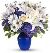 Beautiful in Blue Vase of Fresh Flowers in Catonsville, MD | BLUE IRIS FLOWERS