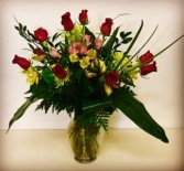 Texas Dozen 13 Red Rose with mixed filler flowers