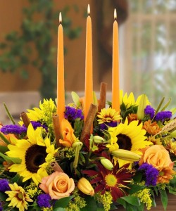 Thanksgiving Autumn Grace Candle Centerpiece in Canon City, CO | TOUCH OF LOVE FLORIST AND WEDDINGS