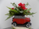 The Perfect Roadster Red Ceramic Roadster filled with Permanent Botanicals