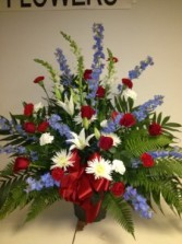 The Red, White and Blue Tribute Patriotic Spray
