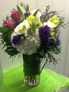 Think Summer Cylinder Vase Arrangement in Fairfield, CT | Blossoms at Dailey's Flower Shop