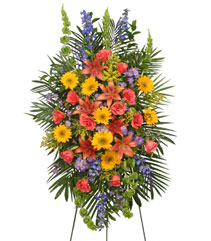 VIBRANT FLORAL EXPRESSION Standing Funeral Spray in Bennington, VT | THE FLOWER WORKS