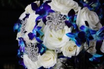 Wedding Bouquet - Blue & White with blings