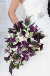 Wedding bouquet Cascading wedding bouquet,in white and eggplant color