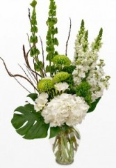 White and Green Vase Funeral Flowers