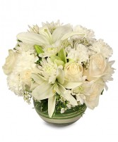 WHITE BUBBLE BOWL Vase of Flowers Best Seller in Grand Island, NE | BARTZ FLORAL CO. INC.