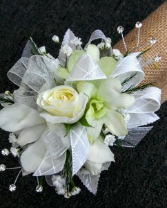 White Elegance Sweetheart Rose and Orchid Corsage in Jacksonville, FL | TURNER ACE FLORIST