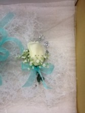 White Rose Bout and Bling Boutonniere
