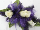 White Roses with Purple Ribbon and Purple Feathers