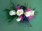 White Spray Roses with Black & Hot pink ribbon Wrist Corsage