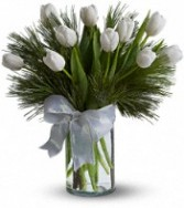 White Tulips with Christmas Greenery