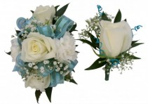 White W/light Blue Corsage / Boutonnieres