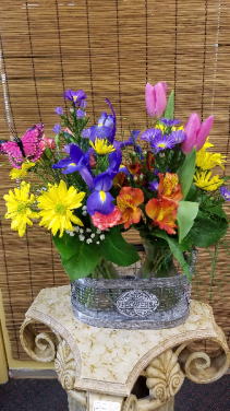 Wildflower Double Basket of Glass Vases