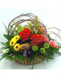 BASKET OF COLOUR FRESH FLOWER BASKET