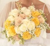 YELLOW BOUQUET WEDDING BOUQUET/YELLOW, CREAM, & SOFT PINK ROSES WITH GREENERY