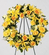 Round wreath with all yellow flowers