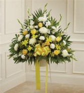 Yellow & White Sympathy Standing Basket Funeral