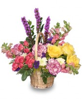 GARDEN REVIVAL<br/>Basket of Flowers Liatris, Yellow, Rose, Carnations, Pink Snapdragon