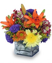 SIMPLE PLEASURES<br/>Floral Arrangement Orange Lilies, Purple Lisianthus, Yellow Fuji Mum, Alstroemeria nice flowers