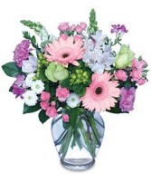 MELODY OF FLOWERS<br/>Bouquet Green Hypericum, Pink Gerbera Daisy, White Snapdargons, Pink Mini Carnations