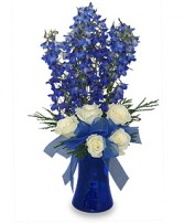 BRILLIANT BLUE<br/>Bouquet of Flowers<br/>Best Seller Blue Delphinium, White Roses in a blue vase