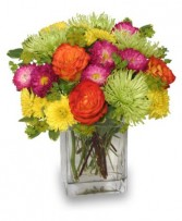 NEON SPLASH<br/>Bouquet Green Spider Mums, Orange Roses, Mums Yellow